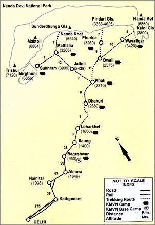 Pindari Trekking Map